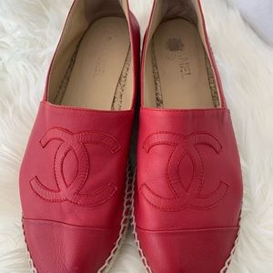 CHANEL Shoes - Chanel red leather espadrilles size 41 (with box)